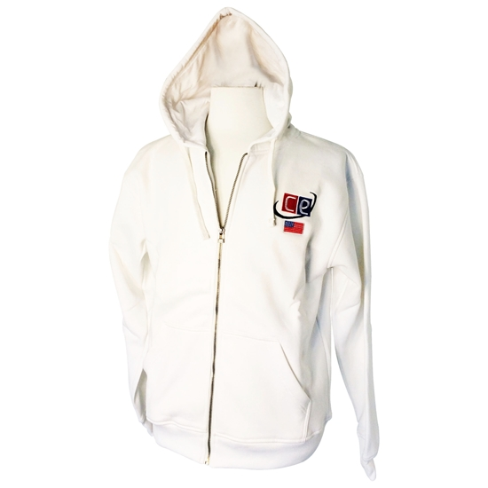 White Cotton Fleece Hoodie