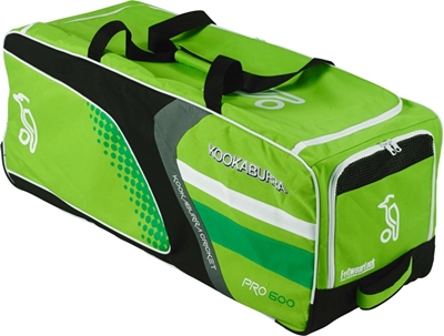 Picture of Pro 600 Cricket Wheelie Bag Green & White By Kookaburra 2016