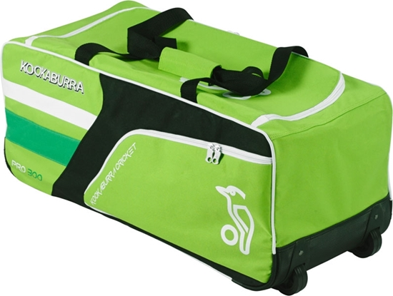 Picture of Cricket Wheelie Bag Pro 300 Green White/Black By Kookaburra