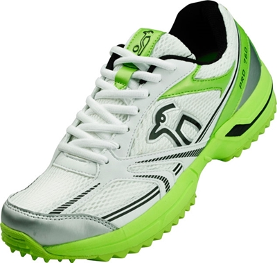Picture of Cricket Shoe Pro 760 Rubber Sole Colors Green White Black By Kookaburra