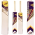 Picture of CE Tape Tennis Ball Cricket Bat Painted Wood Reflex Light Weight 1 LB 12 Ozs White Curved Wooden Bat Short Handle