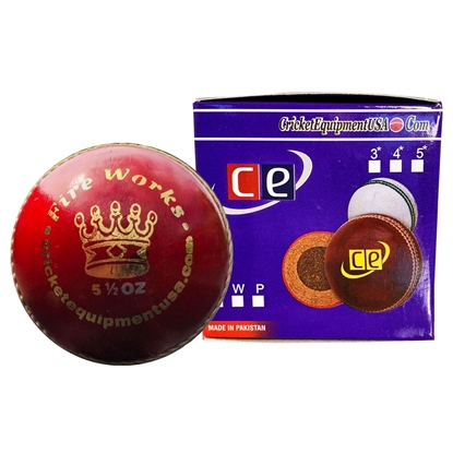Picture of Cricket Ball Fireworks Red Leather by Cricket Equipment USA